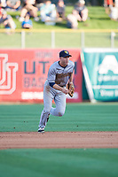 Eric Campbell (24) of the New Orleans Baby Cakes on defense against the Salt Lake Bees at Smith's Ballpark on June 8, 2018 in Salt Lake City, Utah. Salt Lake defeated New Orleans 4-0.  (Stephen Smith/Four Seam Images)