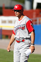 Williamsport Crosscutters manager Mickey Morandini #12 during the first game of a doubleheader against the Batavia Muckdogs at Dwyer Stadium on August 23, 2011 in Batavia, New York.  Batavia defeated Williamsport 2-1.  (Mike Janes/Four Seam Images)
