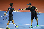 Kaito Uesugi &  Sho Shimabukuro (JPN), <br /> AUGUST 20, 2018 - Tennis : <br /> Men's Doubles Round of 32<br /> at Jakabaring Sport Center Tennis Court <br /> during the 2018 Jakarta Palembang Asian Games <br /> in Palembang, Indonesia. <br /> (Photo by Yohei Osada/AFLO SPORT)