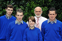 Miltown Secondary School students pictured with principal Cormac Bonner after receiving their junior certs on Wednesday, from left, David O'Leary, Marcus mangan, Catherina Mccarthy and Jason McKenna.<br /> Picture by Don MacMonagle