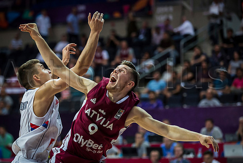1st September 2017, Fenerbahce Arena, Istanbul, Turkey; FIBA Eurobasket Group D; Serbia versus Latvia; Shooting Guard Dairis Bertans #9 of Latvia reacts during the match