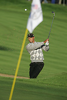 Straffin Co Kildare Ireland. K Club Ruder Cup...American Ryder Cup team member Tiger Woods playing his second shot on the forth from the bunker during the opening fourball session of the first day of the 2006 Ryder Cup, at the K Club in Straffan, Co Kildare, in the Republic of Ireland, 22 September 2006..Photo: Fran Caffrey/ Newsfile..