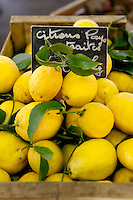 Locally-grown lemons for sale at the Marché Provençal, Antibes, France, 26 April 2012