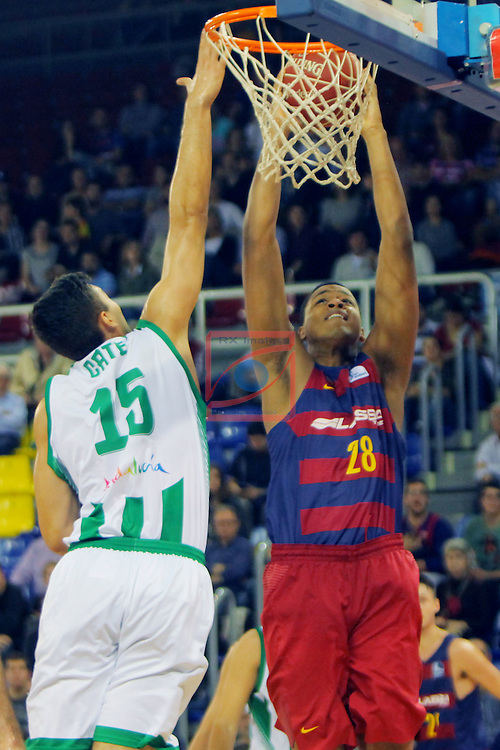 League ACB-ENDESA 2016/2017. Game: 5.<br /> FC Barcelona Lassa vs BEP-Real Betis Energia Plus: 80-58.<br /> Emanuel Cate vs Wesley Sena.