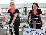Sarah Giggins and Paula Finn who took part in the Square United 10 hour Cyclathon at Super Valu Ardee in aid of Ardee Hospice. Photo:Colin Bell/pressphotos.ie