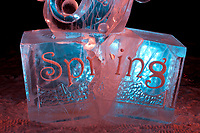 """Single block abstract sculpture titled """"Spring"""" by Aaron Costic and Martin King, 2009 World Ice Art Championships in Fairbanks, Alaska. First place, abstract category"""