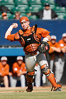 Preston Clark of the Texas Longhorns during a game against the Cal State Long Beach 49'ers at Blair Field on February 11, 2007 in Long Beach, California. (Larry Goren/Four Seam Images)