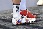 Fancy shoes for one BMC Racing Team rider at sign on before the start of Stage 7 of the 2018 Giro d'Italia, a flat stage running 159km from Pizzo to Praia a Mare, Italy. 11th May 2018.<br /> Picture: LaPresse/Fabio Ferrari | Cyclefile<br /> <br /> <br /> All photos usage must carry mandatory copyright credit (&copy; Cyclefile | LaPresse/Fabio Ferrari)