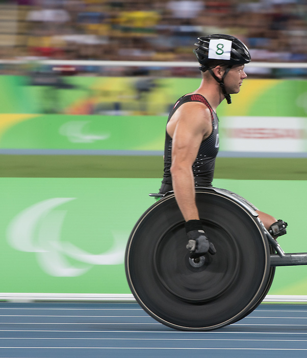 RIO DE JANEIRO - 14/9/2016:  Josh Cassidy competes in the Men's 800m - T54 Heat at the Olympic Stadium during the Rio 2016 Paralympic Games in Rio de Janeiro, Brazil. (Photo by Matthew Murnaghan/Canadian Paralympic Committee