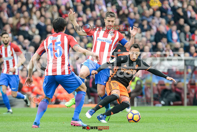 "Atletico de Madrid's Gabriel ""Gabi"" Fernández and Stefan Savic and Valencia CF's Fabian Orellana during La Liga match between Atletico de Madrid and Valencia CF at Vicente Calderon Stadium  in Madrid, Spain. March 05, 2017. (ALTERPHOTOS/BorjaB.Hojas) /NortePhoto.com"