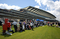 On course bookmakers in front of the main grandstand at Ascot Race Course during Royal Ascot Week.