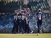 4th October 2017, WACA Ground, Perth, Australia; 2017 JLT One Day Cup, Tasmania versus Victoria; Victorian Bushrangers celebrate the wicket of Tasmanian Tigers Alex Doolan