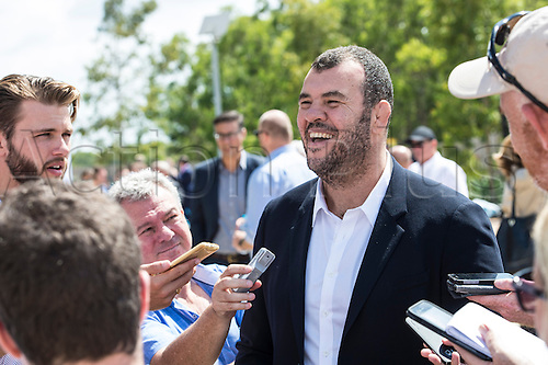 17.02.2016. Prospect, Australia. The 2016 Asterion Life Super Rugby Media Launch at Wet'n'Wild Sydney. Qantas Wallabies Head coach Michael Cheika at the launch.
