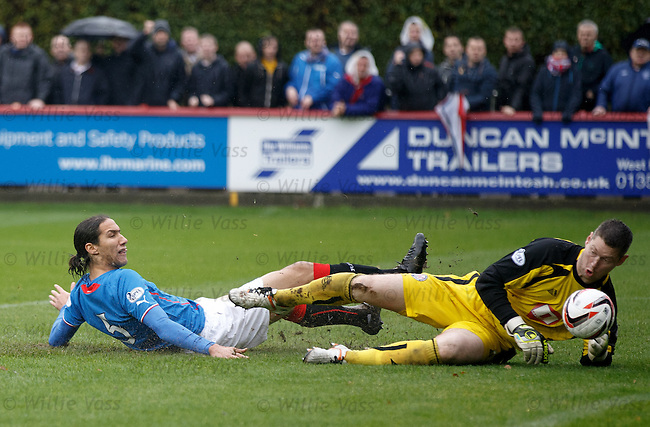 Bilel Mohsni diverts the ball past keeper Graeme Smith to score the swecond goal for Rangers