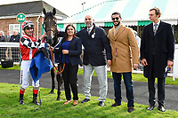 Connections of Jamil in the winners enclosure after winning The Become a Wiltshire Freemason EBF Novice Stakes    during Afternoon Racing at Salisbury Racecourse on 4th October 2017