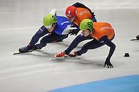 SHORTTRACK: DORDRECHT: Sportboulevard Dordrecht, 25-01-2015, ISU EK Shorttrack, 1000m Men Halve Finale, Vladislav BYKANOV (ISR | #39), Sjinkie KNEGT (NED | #1), Freek VAN DER WART (NED | #52), ©foto Martin de Jong