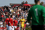 Leigh RMI 0, FC United of Manchester 0, 16/07/2005. Hilton Park, pre-season friendly. Visiting supporters packed on the terracing. FC United of Manchester were established by dissident Manchester United supporters in the wake of the Malcolm Glazer takeover of their club. They were admitted to the North West Counties League prior to the 2005-06. Photo by Colin McPherson.