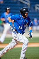 Biloxi Shuckers catcher Dustin Houle (21) runs to first base during a game against the Jackson Generals on April 23, 2017 at MGM Park in Biloxi, Mississippi.  Biloxi defeated Jackson 3-2.  (Mike Janes/Four Seam Images)