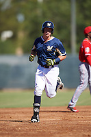 Milwaukee Brewers second baseman Tucker Neuhaus (48) runs the bases after hitting a home run during an Instructional League game against the Cincinnati Reds on October 14, 2016 at the Maryvale Baseball Park Training Complex in Maryvale, Arizona.  (Mike Janes/Four Seam Images)