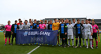 """20191211- Ostend: Referees, Club Brugge and Real Madrid players are posing with the """"# equal game"""" flag at the start of  the UEFA Youth League Group A football match between Club Brugge and Real Madrid on Wednesday 11th December 2019 at Versluys Arena, Ostend, Belgium. PHOTO: SEVIL OKTEM 