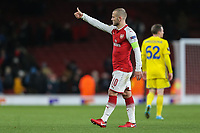 Jack Wilshere of Arsenal puts his thumb up to the home supporters after victory in the UEFA Europa League match between Arsenal and FC BATE Borisov  at the Emirates Stadium, London, England on 7 December 2017. Photo by David Horn.