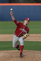 Sam Triece #41 of the Washington State Cougars pitches against the Cal State Fullerton Titans at Goodwin Field on  February 15, 2014 in Fullerton, California. Washington State defeated Fullerton, 9-7. (Larry Goren/Four Seam Images)