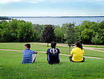 University of Wisconsin-Madison students enjoy the view of Lake Mendota from Observatory Hill.