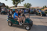 Microsoft Reno General Manager Owen Roberts leads golfers out to the course at the Microsoft 8th Annual Charity Golf Tournament held at Red Hawk Golf and Resort in Sparks on Friday, August 19, 2016.
