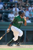 Right fielder Kendrick Perkins (10) of the Greenville Drive bats in a game against the Savannah Sand Gnats on Sunday, June 22, 2014, at Fluor Field at the West End in Greenville, South Carolina. Greenville won, 7-3. (Tom Priddy/Four Seam Images)
