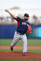 Boston Red Sox pitcher Edward Mujica (54) during a spring training game against the Tampa Bay Rays on March 25, 2014 at Charlotte Sports Park in Port Charlotte, Florida.  Boston defeated Tampa Bay 4-2.  (Mike Janes/Four Seam Images)