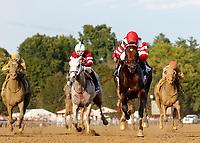 Mind Control (no. 2) wins the Hopeful Stakes (Grade 1), Sep. 3, 2018 at the Saratoga Race Course, Saratoga Springs, NY.  Ridden by John Velazquez, and trained by Gregory Sacco, Mind Control finished  3/4 lengths in front of Mucho (No. 7).  (Bruce Dudek/Eclipse Sportswire)