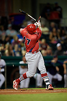 Peoria Chiefs designated hitter Luken Baker (47) breaks his bat during a game against the Bowling Green Hot Rods on September 15, 2018 at Bowling Green Ballpark in Bowling Green, Kentucky.  Bowling Green defeated Peoria 6-1.  (Mike Janes/Four Seam Images)