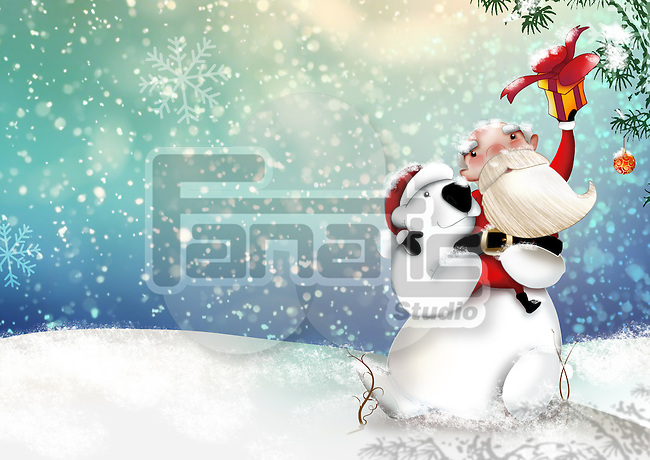 Illustrative image of Santa Claus with snowman representing Christmas celebration