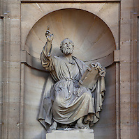 SLODTZ, Rene Michel, 1705-64, sculpture of Evangelist,  porch of Eglise Saint-Sulpice (St Sulpitius' Church), c.1646-1745, late Baroque church on the Left Bank, Paris, France. Picture by Manuel Cohen