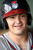Catcher Shea Langeliers (4) of the Rome Braves, an Atlanta Braves' First-Round pick in the 2019 MLB Draft, is greeted after scoring a run in a game against the Greenville Drive on Sunday, June 30, 2019, at Fluor Field at the West End in Greenville, South Carolina. Rome won, 6-3. (Tom Priddy/Four Seam Images)