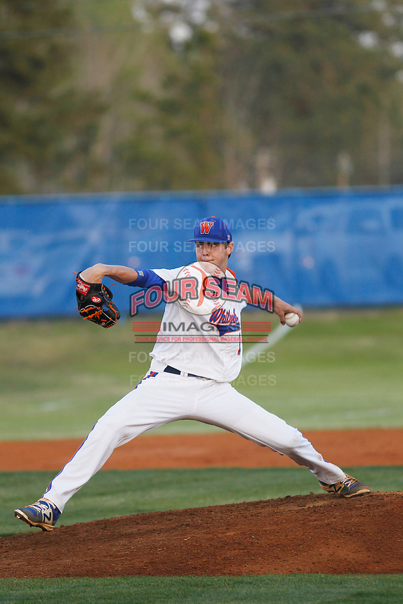 Whiteville High School Wolfpack pitcher MacKenzie Gore (1) on the mound during a game against the South Columbus High School Stallions at Legion Stadium on March 28, 2017 in Whiteville, North Carolina. Whiteville defeated South Columbus 3-2. (Robert Gurganus/Four Seam Images)