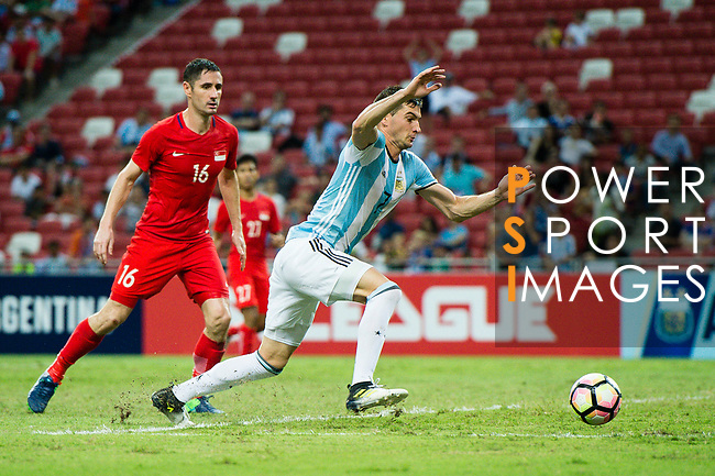 Lucas Alario of Argentina in action during the International Test match between Argentina and Singapore at National Stadium on June 13, 2017 in Singapore. Photo by Marcio Rodrigo Machado / Power Sport Images