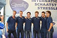 SCHAATSEN: WOLVEGA: 22-09-2014, Team Stressless, Rutger Tijssen (trainer/coach), Bart Swings (BEL), Alexej Baumgärtner (GER), Haralds Silovs (LAT), Karlo Timmerman (NED), Bart Veldkamp (trainer/coach), ©foto Martin de Jong