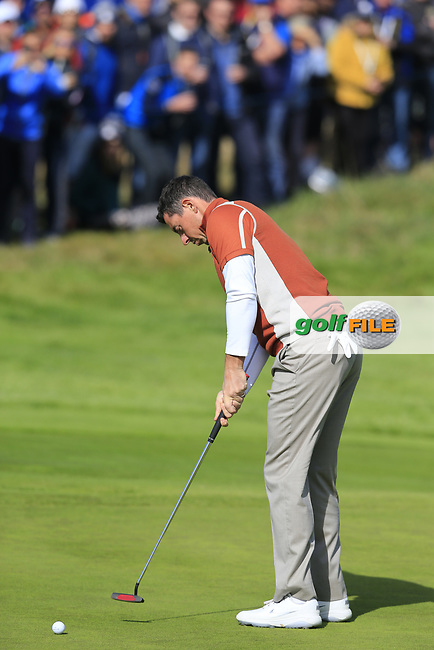 Rory McIlroy (Team Europe) takes his putt on the 17th green during Saturday's Fourball Matches at the 2018 Ryder Cup 2018, Le Golf National, Ile-de-France, France. 29/09/2018.<br /> Picture Eoin Clarke / Golffile.ie<br /> <br /> All photo usage must carry mandatory copyright credit (© Golffile | Eoin Clarke)