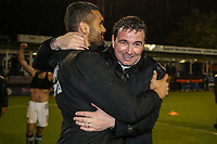 Gary Bowyer (Manager) of Blackpool (left) celebrates victory after the Sky Bet League 2 Play Off Semi Final 2 leg match between Luton Town and Blackpool at Kenilworth Road, Luton, England on 18 May 2017. Photo by David Horn.