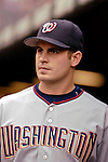 9 September 2006: Chris Schroder, pitcher for the Washington Nationals, stands in the dugout prior to a game against the Colorado Rockies. The Rockies defeated the Nationals 9-5 at Coors Field in Denver, Colorado.&#xA;&#xA;Mandatory Photo Credit: Ed Wolfstein.<br />