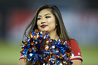 A member of the Inland Empire 66ers cheerleaders entertains the crowd between innings of the game against the Stockton Ports at San Manuel Stadium on July 6, 2017 in San Bernardino, California. The Ports defeated the 66ers 7-6.  (Brian Westerholt/Four Seam Images)