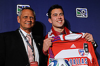 FC Dallas draft pick Andrew Wiedeman  with head coach Schellas Hyndman during the MLS SuperDraft at the Pennsylvania Convention Center in Philadelphia, PA, on January 14, 2010.
