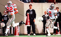 Ohio State's Matt Finkes (92) heads toward the end zone with Ty Howard keeping watch during the OSU-Indiana football game Saturday, November 16, 1996.  (CHRIS RUSSELL, Dispatch)