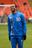 Blackpool's Nathan Delfouneso warms up<br /> <br /> Photographer Richard Martin-Roberts/CameraSport<br /> <br /> The EFL Sky Bet League One - Blackpool v Walsall - Saturday 10th February 2018 - Bloomfield Road - Blackpool<br /> <br /> World Copyright &not;&copy; 2018 CameraSport. All rights reserved. 43 Linden Ave. Countesthorpe. Leicester. England. LE8 5PG - Tel: +44 (0) 116 277 4147 - admin@camerasport.com - www.camerasport.com