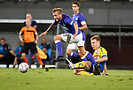 2018-08-10 / Voetbal / Seizoen 2018-2019 / KFCO Beerschot-Wilrijk - KVC Westerlo / Jimmy De Jonghe (B-W) wipt over de tackle van Guillaume De Schryver<br /> <br /> ,Foto: Mpics
