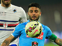Lorenzo Insigne  during the Italian Serie A soccer match between   SSC Napoli and UC Sampdoria at San Paolo  Stadium in Naples ,April 26 , 2015