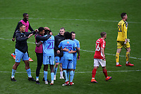 Coventry City players celebrate their 2-1 victory at the final whistle with Amadou Bakayoko who scored their winning goal during Charlton Athletic vs Coventry City, Sky Bet EFL League 1 Football at The Valley on 6th October 2018