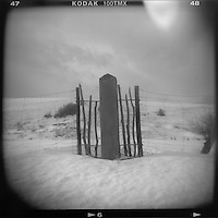 A fence post in snow near Red Lodge, Mont.,