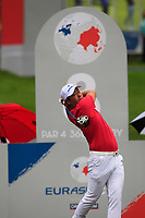 Hideto Tanihara (Asia) on the 8th tee during the Friday Foursomes of the Eurasia Cup at Glenmarie Golf and Country Club on the 12th January 2018.<br /> Picture:  Thos Caffrey / www.golffile.ie